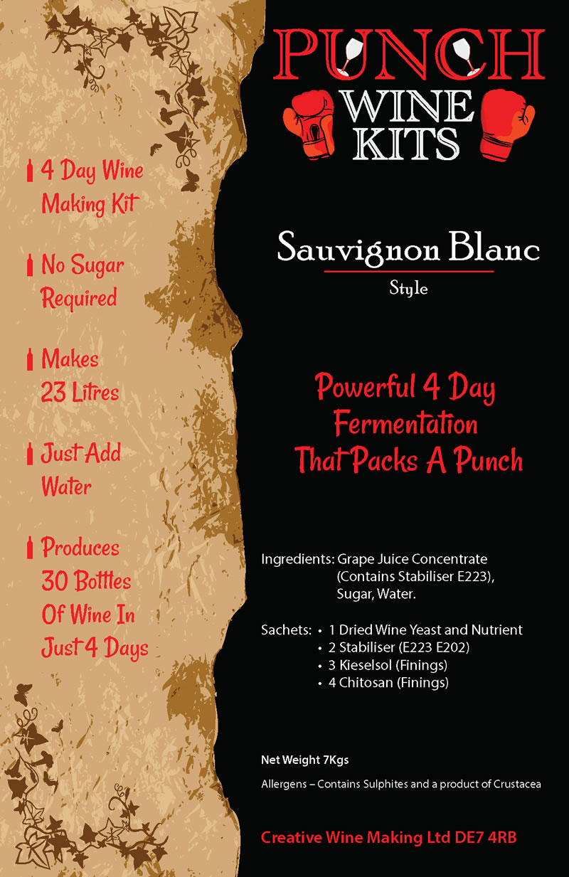Punch Sauvignon Blanc 30 Bottle Wine Kit